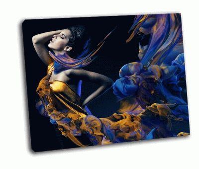 Картина чувственная женщина и краска волн