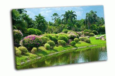 Картина цветник возле воды