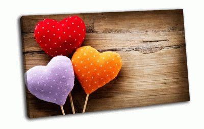 Картина цветные сердечки
