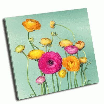 Картина цветочная композиция  из разноцветных цветов