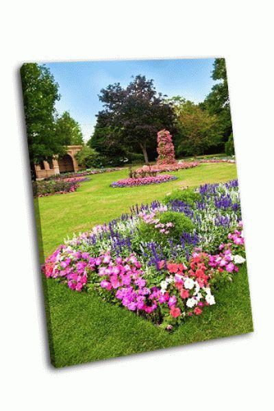 Картина цветочный сад с разноцветными азалиями