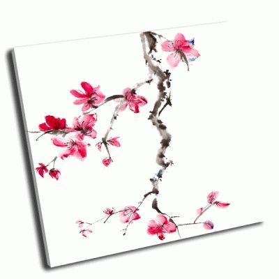 Картина цветок сливы на белом фоне