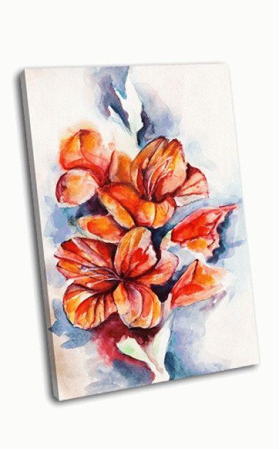 Картина цветущие гладиолусы и маковые бутоны