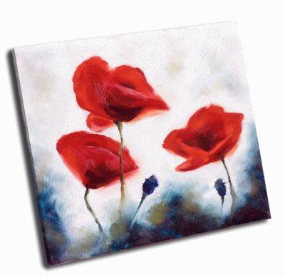 Картина цветущий мак и маковые бутоны