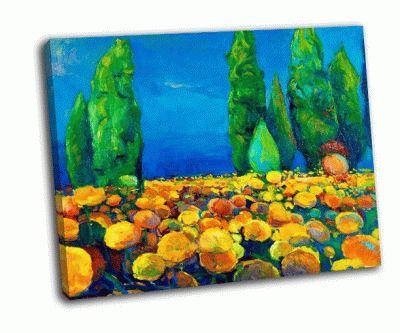 Картина цветы с зелеными деревьями