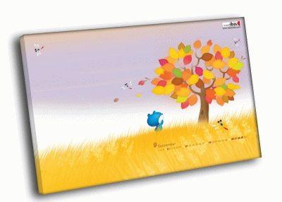 Картина дерево в желтом поле