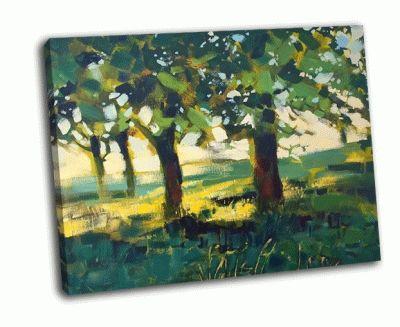 Картина деревья и луговые травы