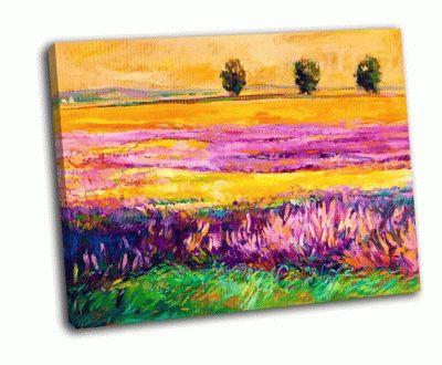 Картина деревья и поле на холсте