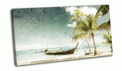 Картина деревянная лодка на пляже в стиле гранж