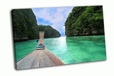 Картина деревянный длинный хвост лодки, тайланд