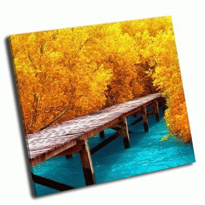Картина деревянный мост и мангровый лес