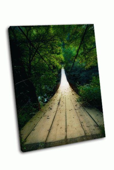 Картина деревянный мост освещенный светом