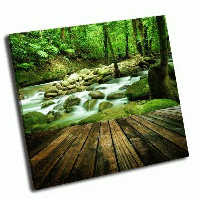 Картина деревянный мост у горного водопада