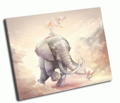 Картина девочка и слон с цветком лотоса