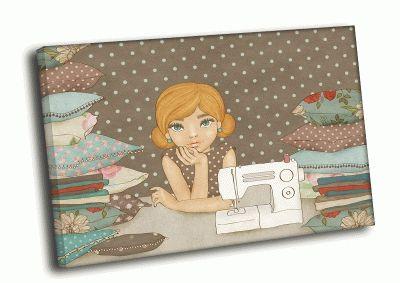 Картина девочка с подушками