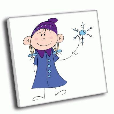 Картина девочка со снежинкой