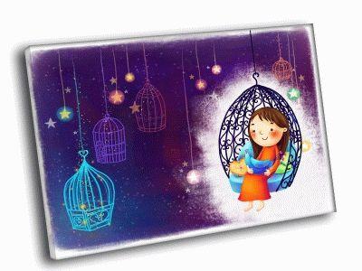 Картина девочка в клетке с птичкой