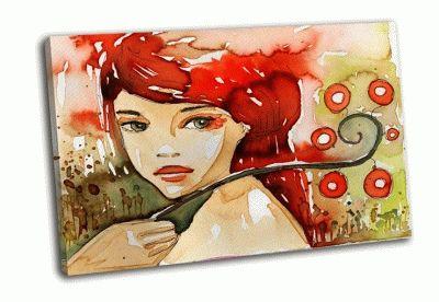 Картина девушка акварелью