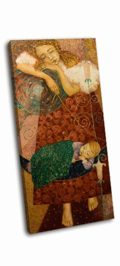 Картина девушка и ребенок в колыбели
