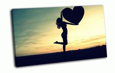 Картина девушка и сердце