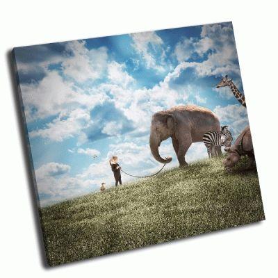 Картина девушка и слон