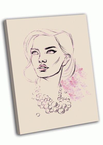 Картина девушка, набросок