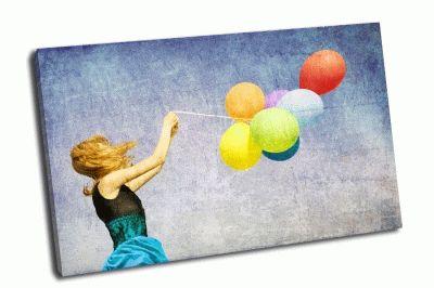 Картина девушка с цветными шариками