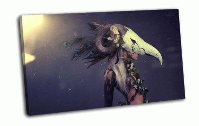 Картина девушка в маске