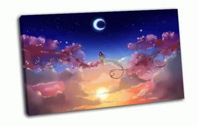 Картина девушка в небе