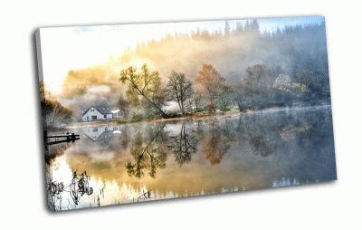 Картина дом возле  озера