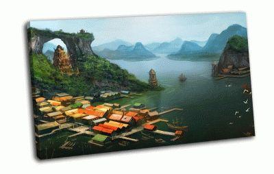 Картина дома с видом на море
