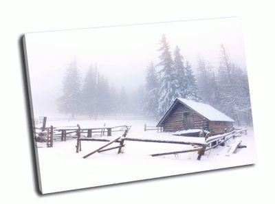 Картина домик на опушке в снегу