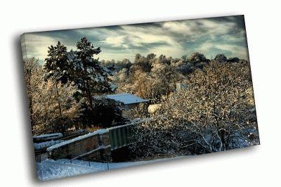 Картина домишка в зимнем лесу