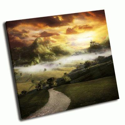 Картина дорога к замку на холме