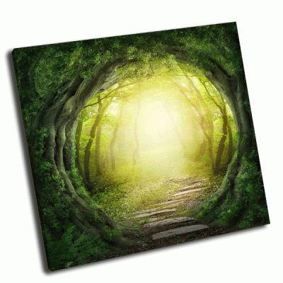 Картина дорога в волшебный темный лес