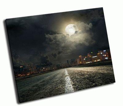 Картина дорога ведущая в ночной город