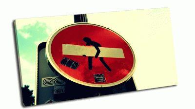 Картина дорожный знак кирпич - стрит арт