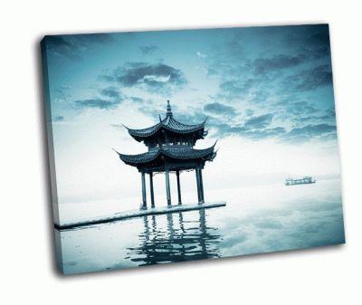 Картина древний павилон в ханчжоу