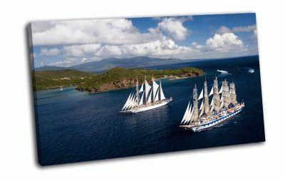 Картина два парусника у острова