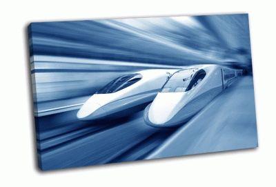 Картина два современных поезда