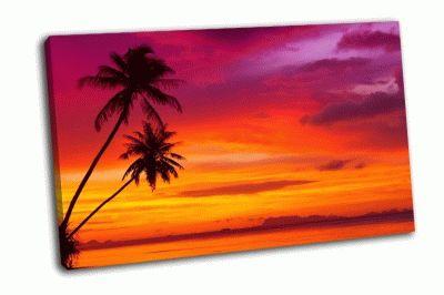 Картина две пальмы на закате