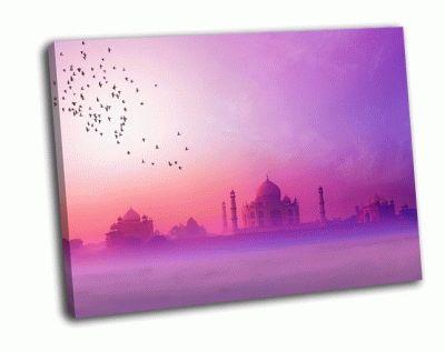 Картина дворец на закате в индии