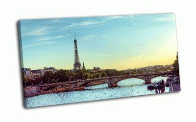 Картина эйфелева башня и река сена