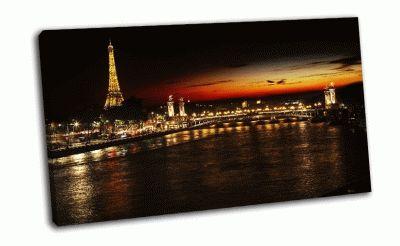 Картина эйфелева башня, мост ночью
