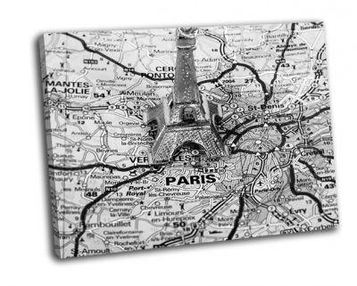 Картина эйфелева башня на карте парижа