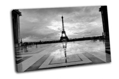 Картина эйфелева башня в черно-белом, париж