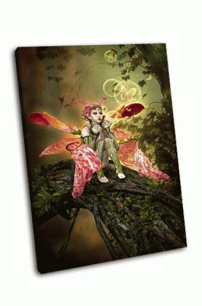 Картина фея на стволе дерева