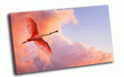 Картина фламинго в розовом небе