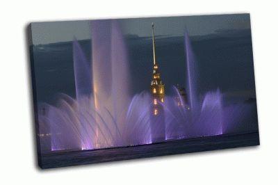 Картина фонтан из невы у петропавловской крепости