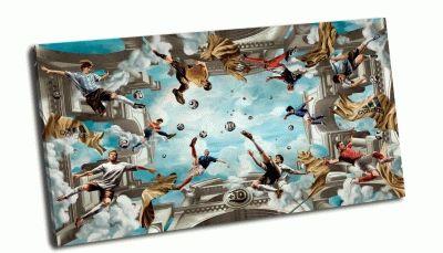 Картина футбол на олимпе, в облаках